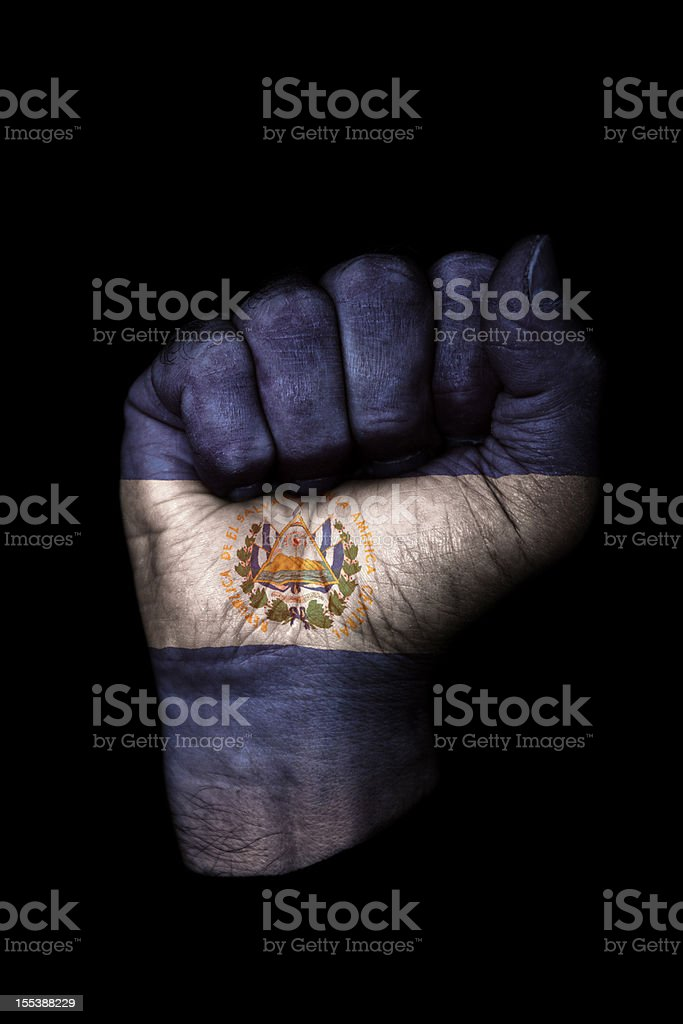 El Salvador Flag Fist royalty-free stock photo