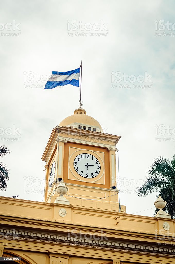 El Salvador Flag in Clock Tower stock photo