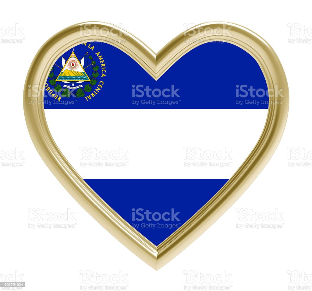 El Salvador flag in golden heart isolated on white background. stock photo