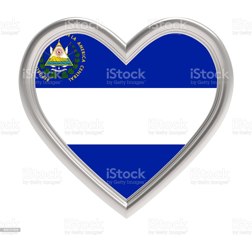 El Salvador flag in silver heart isolated on white background. stock photo