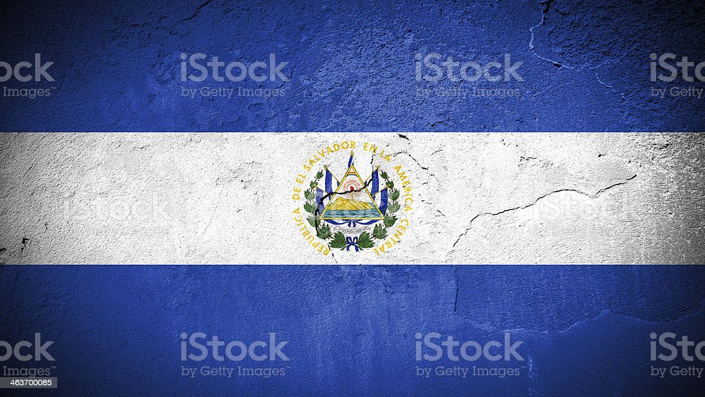 El Salvador flag on cracked wall stock photo