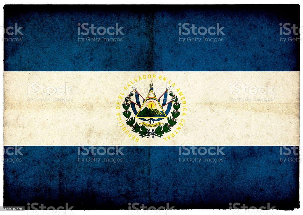 El Salvador Flag on rough edged old postcard royalty-free stock photo