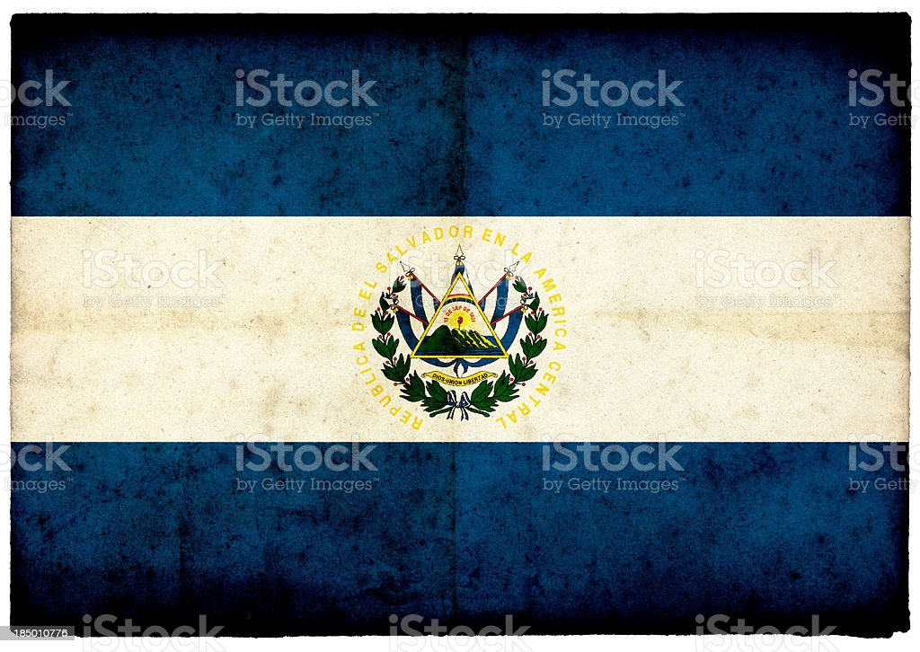 El Salvador Flag on rough edged old postcard stock photo