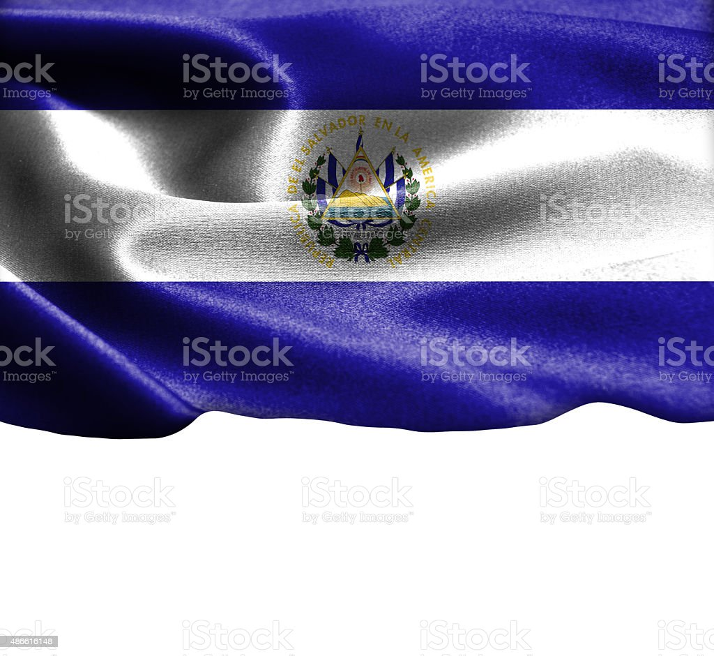 El Salvador flag on smooth silk texture Space for Text stock photo