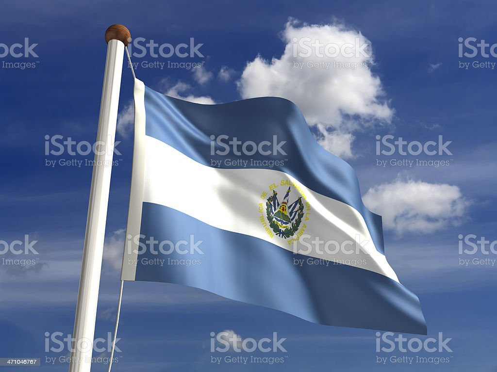 El Salvador flag (with clipping path) stock photo