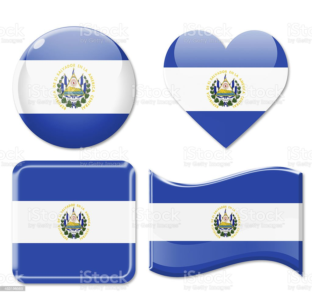 El Salvador Flags & Icon Set royalty-free stock photo