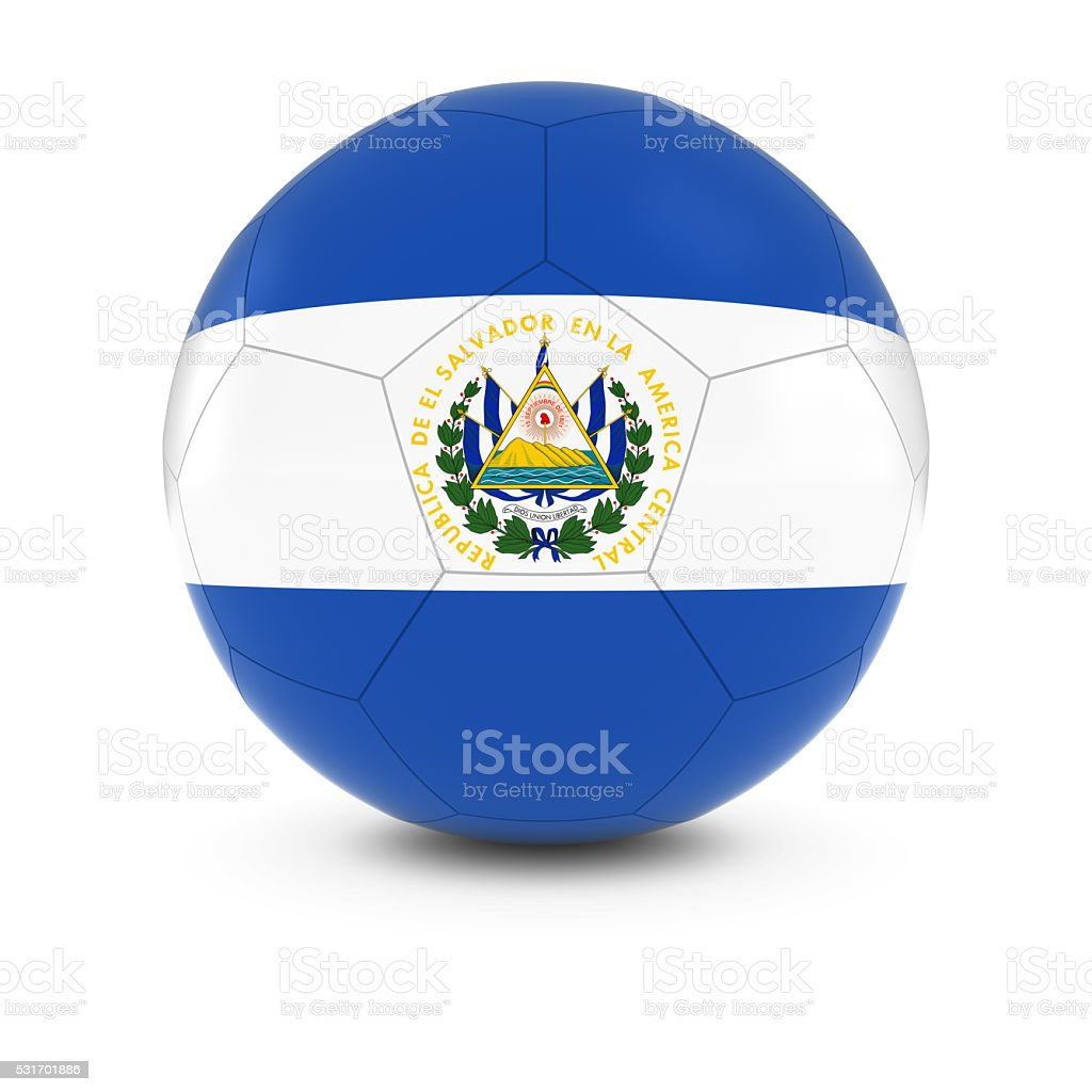 El Salvador Football - Salvadoran Flag on Soccer Ball stock photo