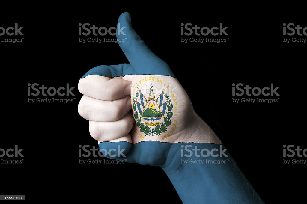 el salvador national flag thumb up gesture for excellence royalty-free stock photo