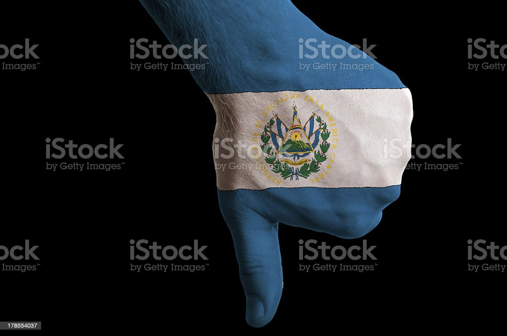 el salvador national flag thumbs down gesture for failure royalty-free stock photo