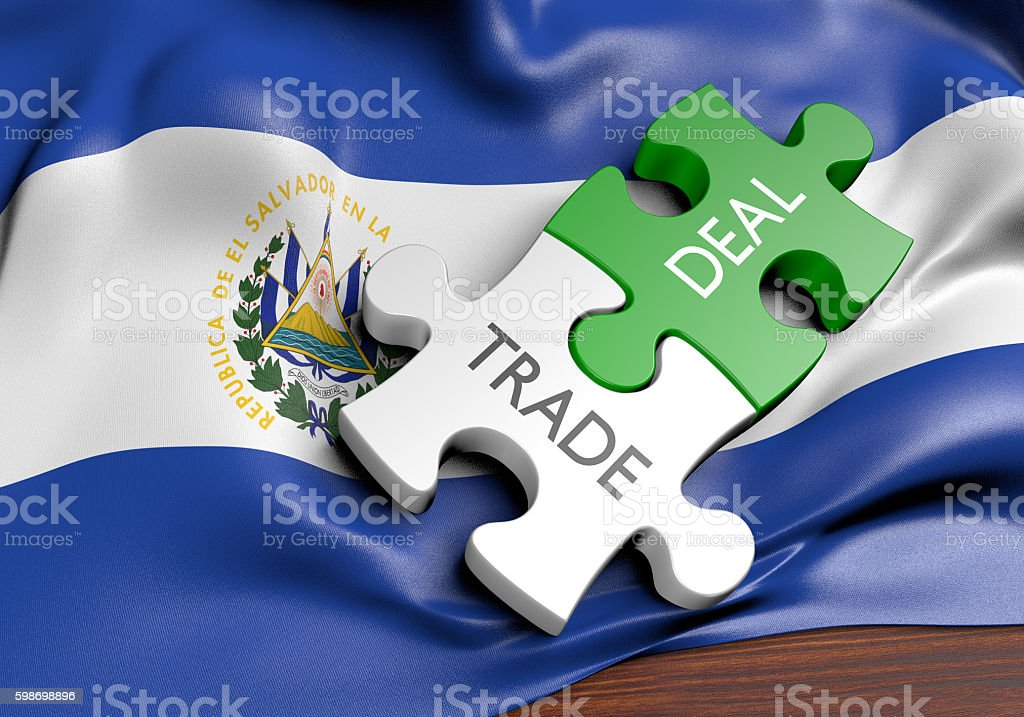 El Salvador trade deals and international commerce concept, 3D rendering stock photo