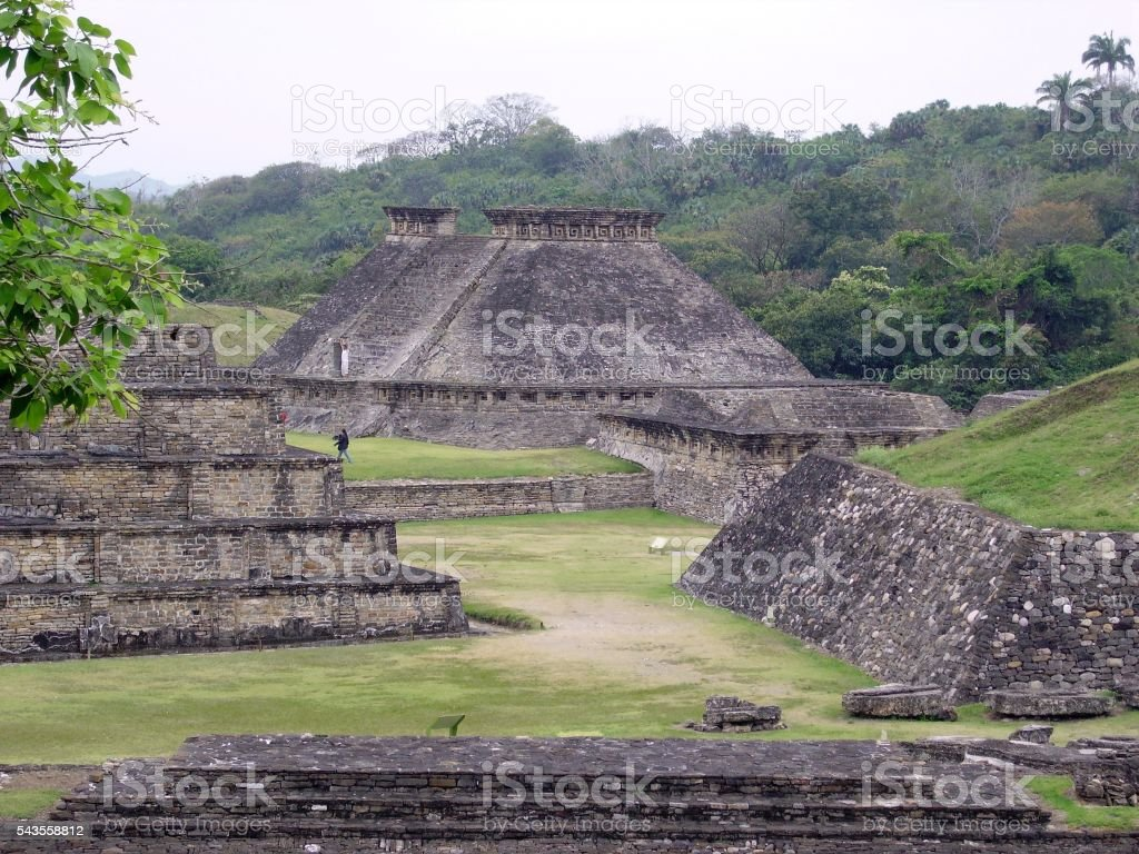 El Tajin archaeological site, panoramic view, Mexico stock photo