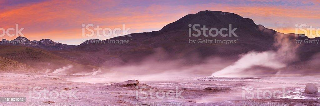 El Tatio Geysers in the Atacama Desert, Chile at sunrise stock photo