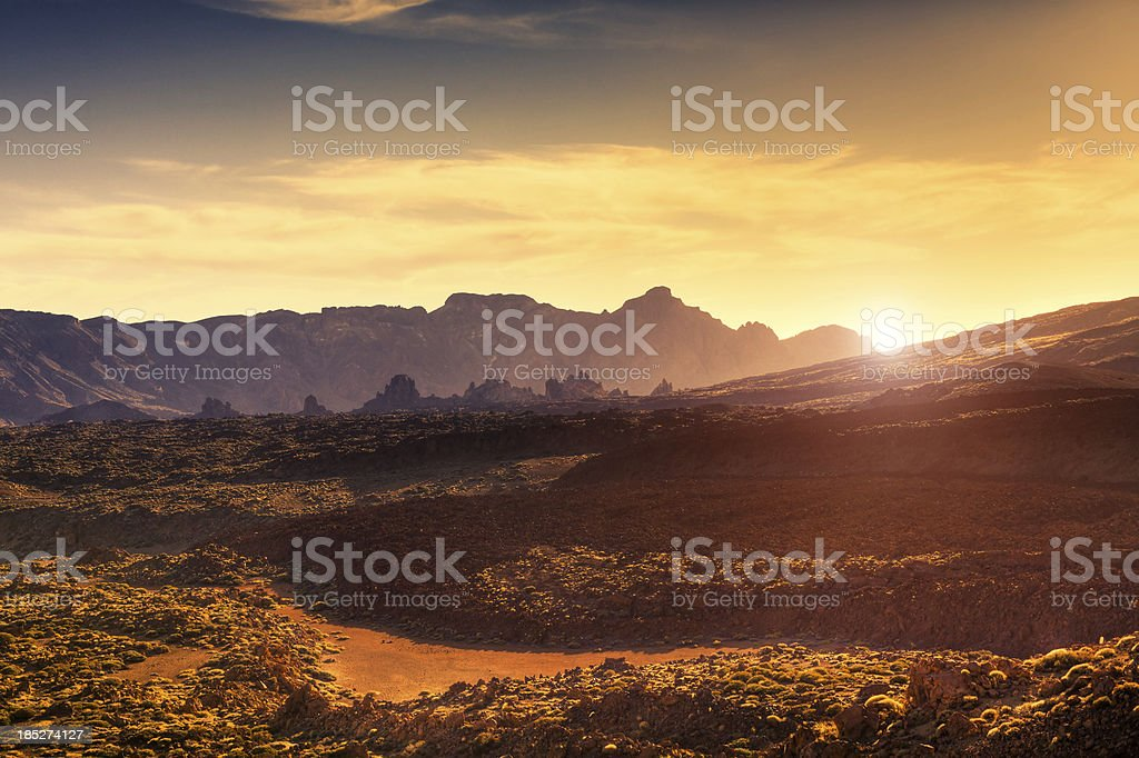 El Teide National Park at Sunset, Canary Islands stock photo
