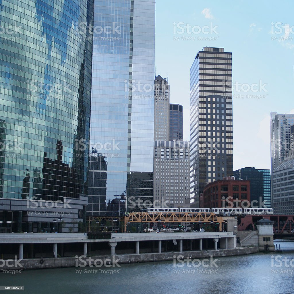El train and Chicago skyline royalty-free stock photo