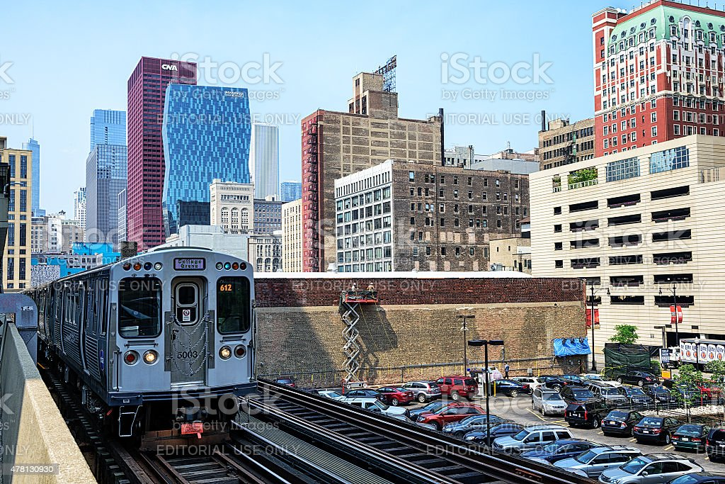 El Train in The Loop, downtown Chicago stock photo