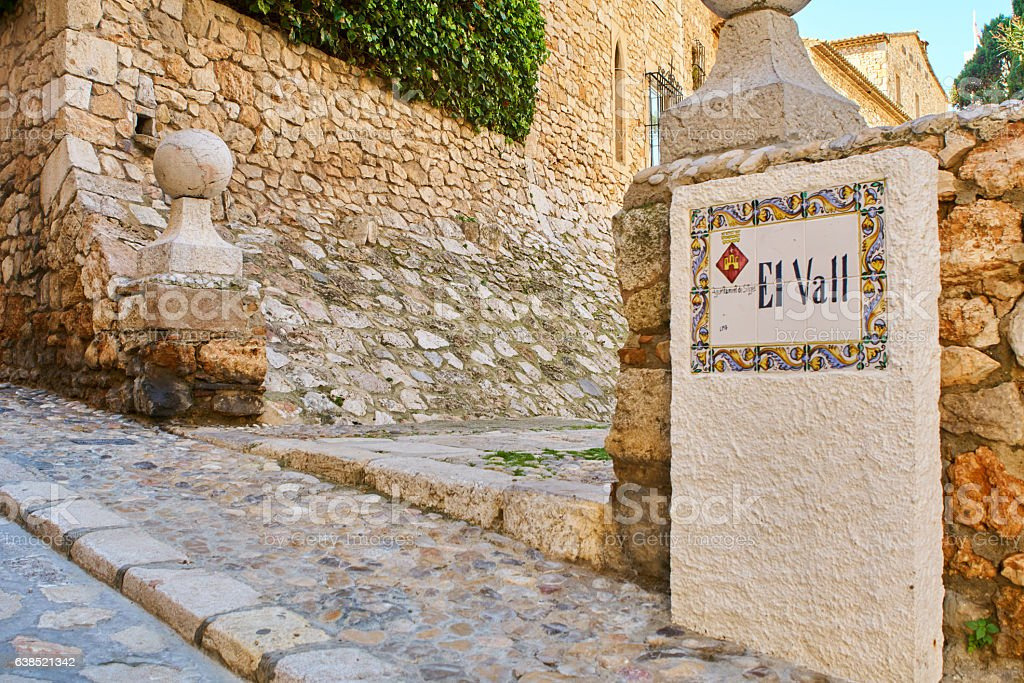 El Vall Street in Sitges stock photo
