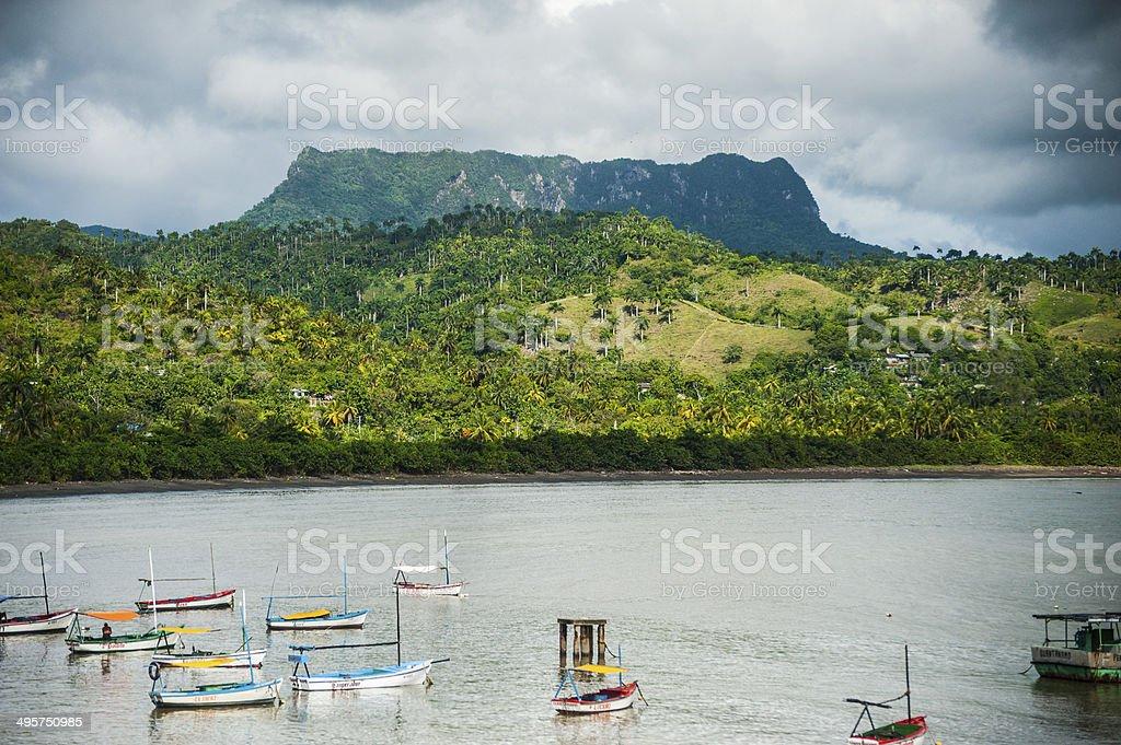 El Yunque and Boats - Cuba stock photo