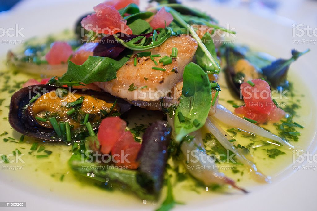 Elaborate fish dish, featuring a mussel sauce, in restaurant royalty-free stock photo