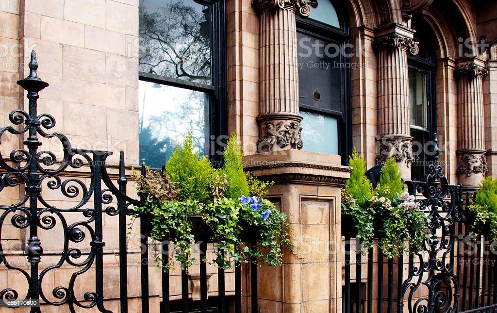 Elaborate Ornamental Wrought Iron Fence, Victorian Architecture, London stock photo