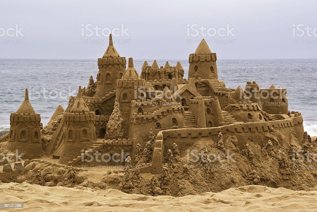 Elaborate sandcastle on the beach royalty-free stock photo