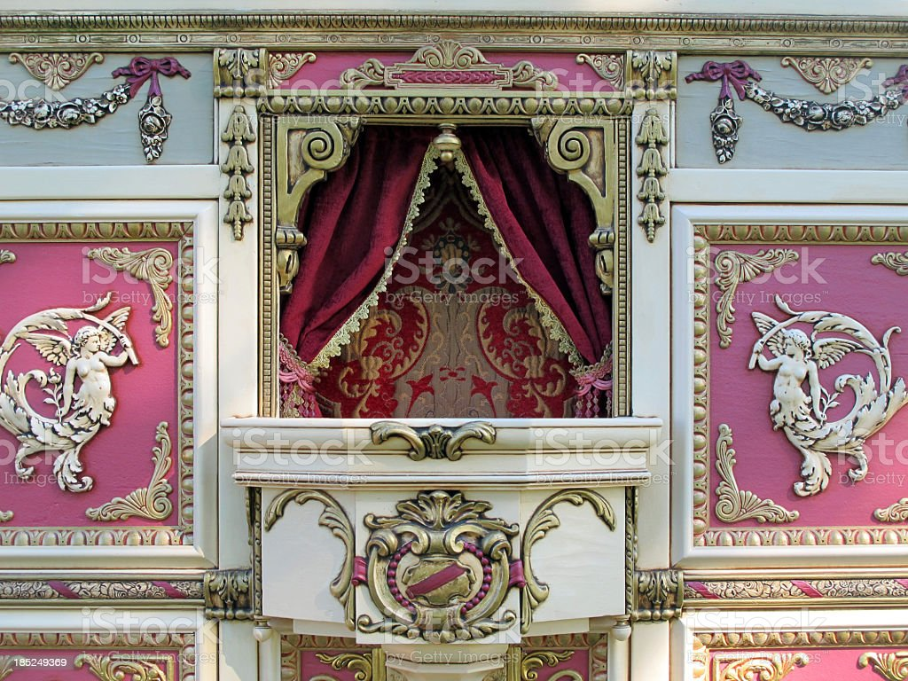 Elaborately Designed Puppet Theater: Reds and Gold stock photo