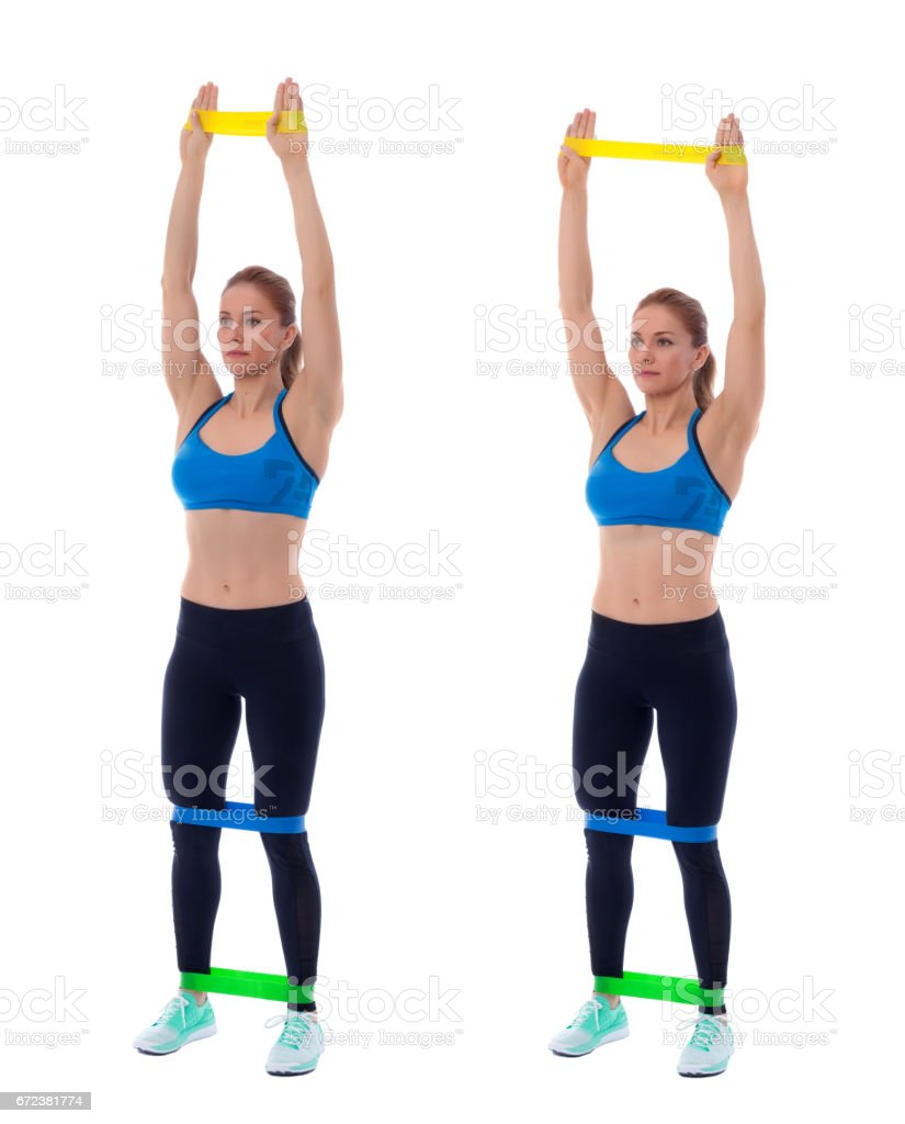 Elastic band upright lateral stock photo