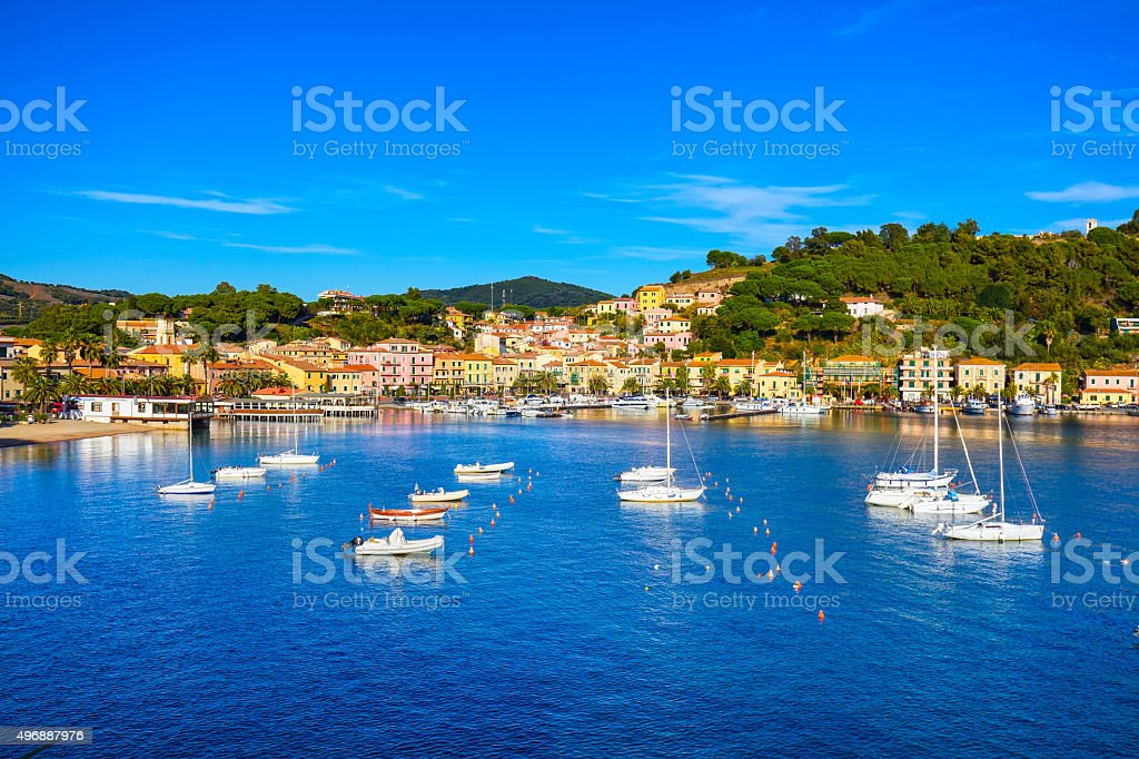 Elba island, Porto Azzurro village bay view. Tuscany, Italy. stock photo