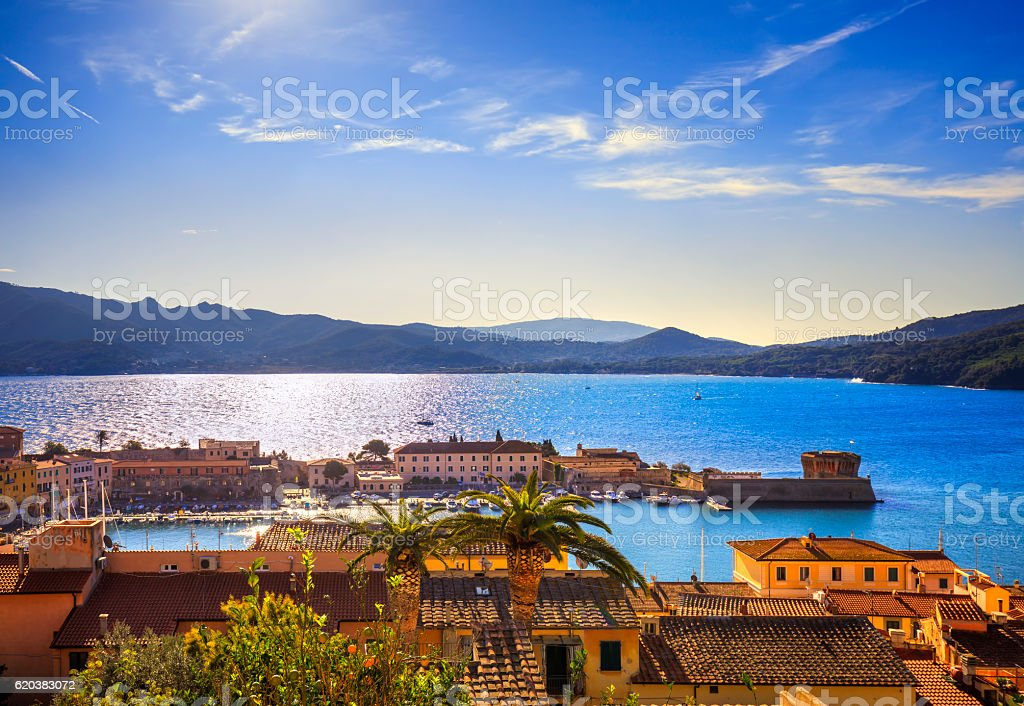 Elba island, Portoferraio harbor aerial view. Tuscany, Italy. stock photo