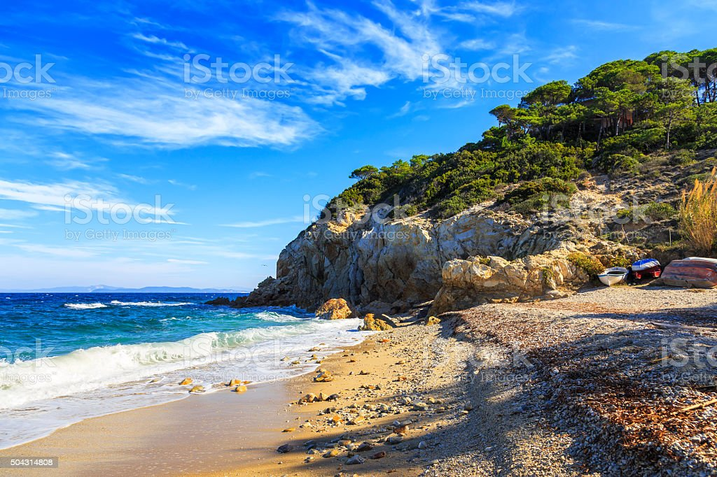 Elba island, Portoferraio Sansone Sorgente beach coast. Tuscany, stock photo