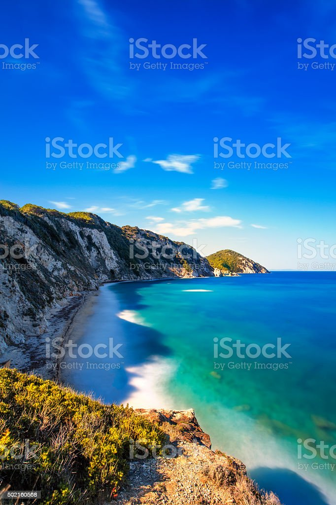 Elba island, Portoferraio Sansone white beach coast. Tuscany, It stock photo