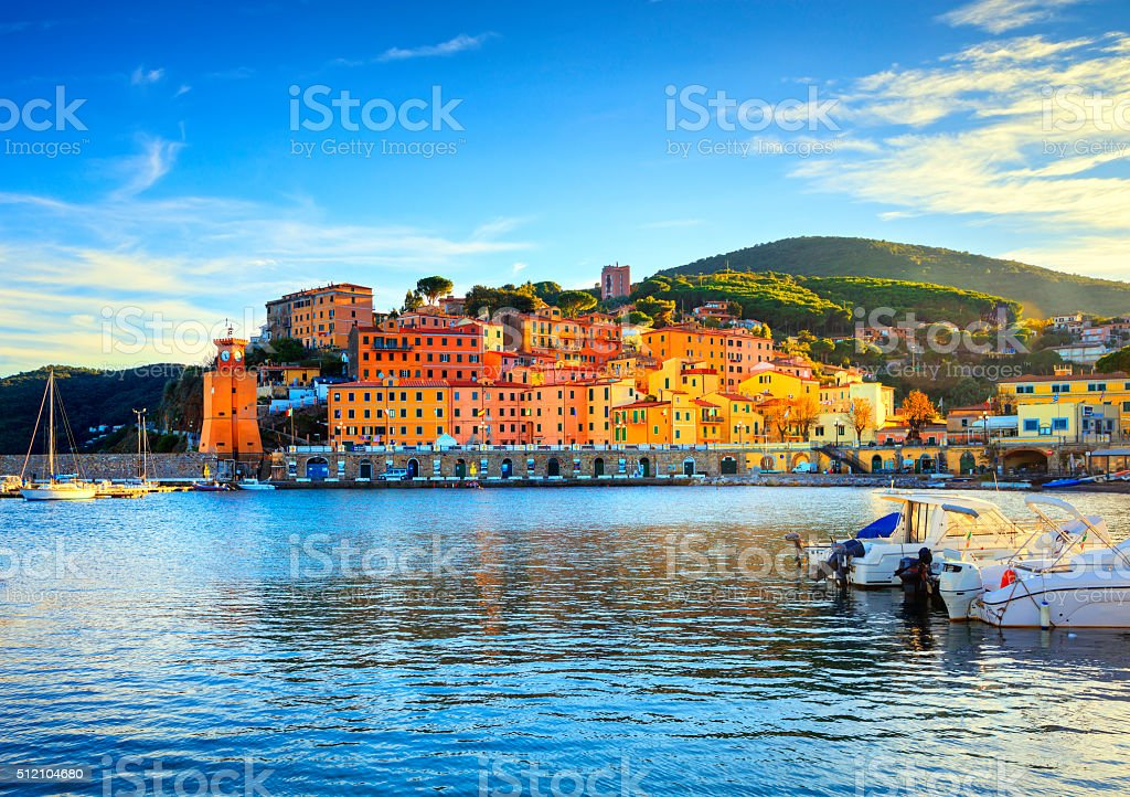 Elba island, Rio Marina village bay. Bay beach  lighthouse. T stock photo