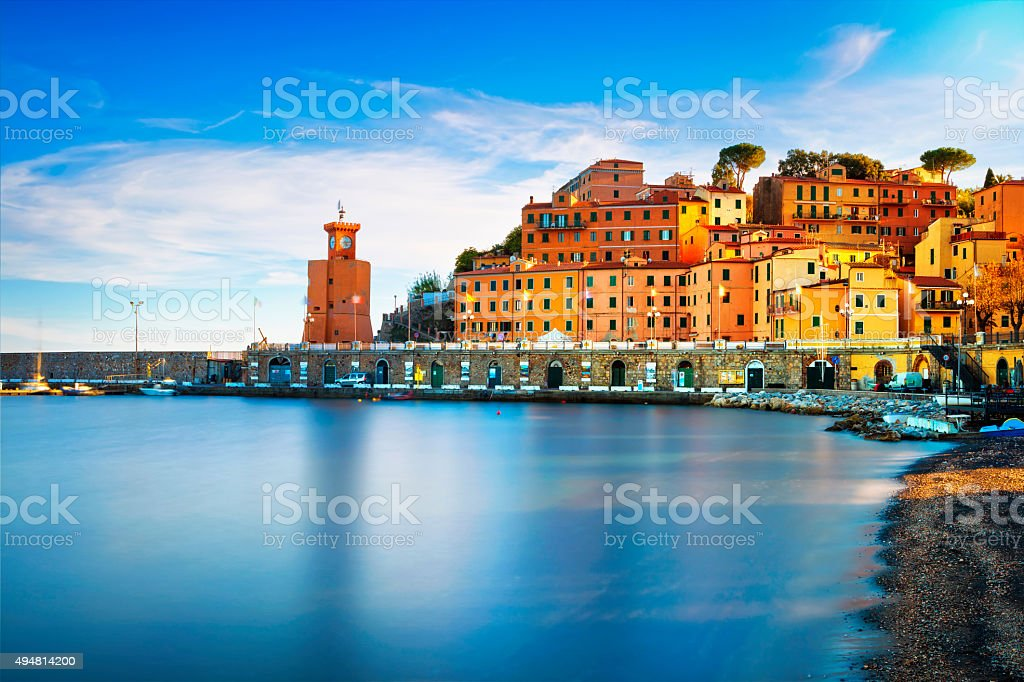 Elba island, Rio Marina village  Bay beach and lighthouse. T stock photo