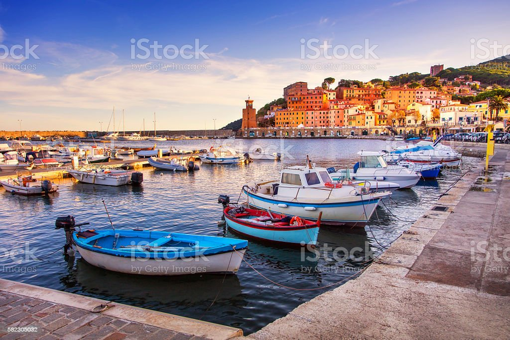 Elba island, Rio Marina village bay. Marina and lighthouse. Tusc stock photo