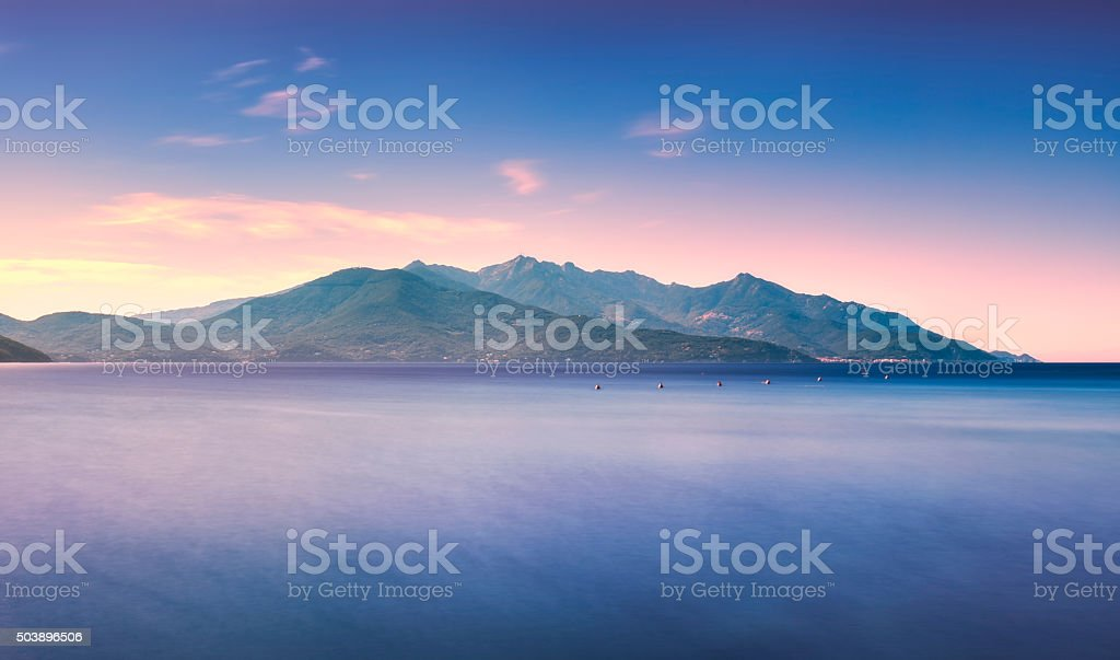 Elba island, sea Capanne mount. Tuscany, Italy. Long Exposure. stock photo