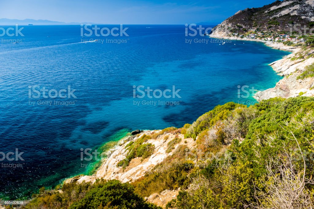 Elba island sea near Pomonte stock photo