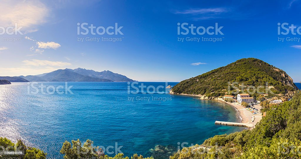 Elba island sea, Portoferraio Enfola headland beach and Capanne stock photo