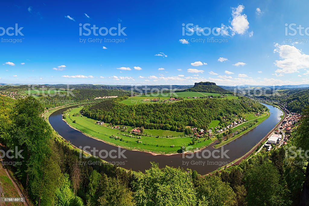 Elbe and Lilienstein mountain panorama, Saxon Switzerland, Germany stock photo