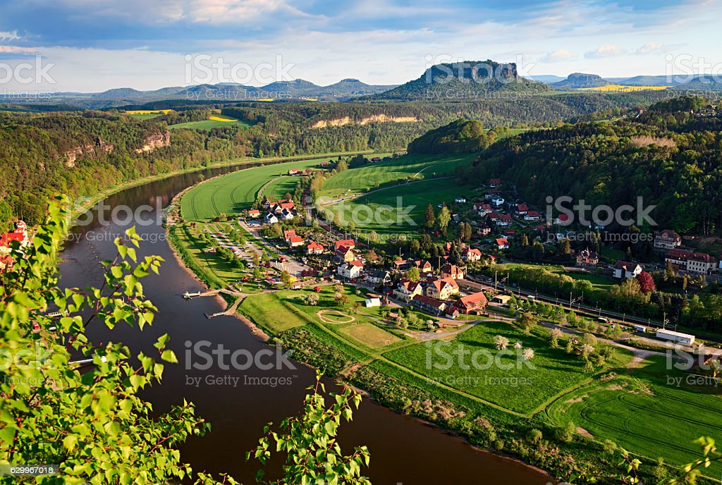 Elbe and Lilienstein mountain, Saxon Switzerland, Germany stock photo