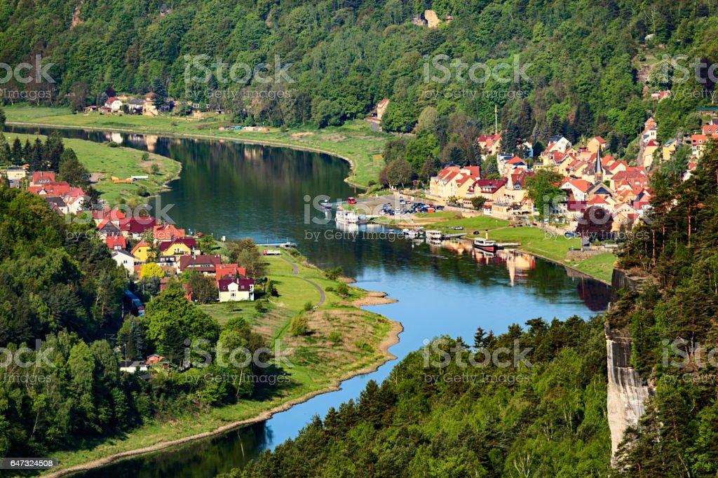 Elbe near Bastei rock in Saxon Switzerland, Germany stock photo