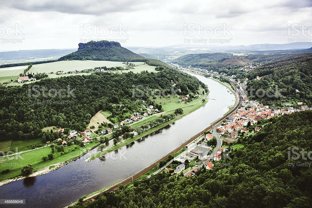 Elbe River and Lilienstein, Germany stock photo
