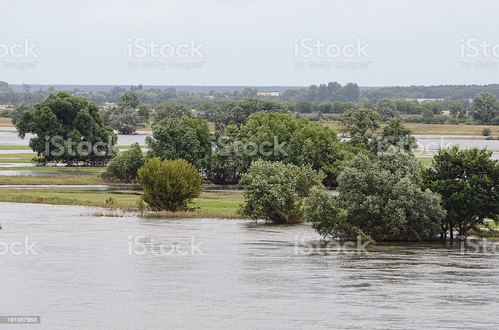 Elbe River dyke at Fischbeck of great flood 2013 stock photo