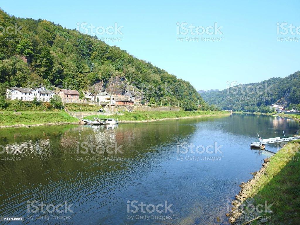 Elbe River in Hrensko, Czech Republic stock photo