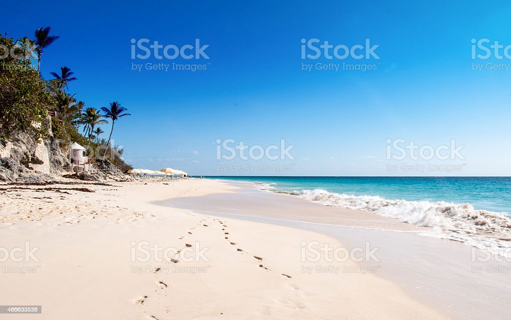 Elbow Beach, Bermuda- famous pink sands. stock photo