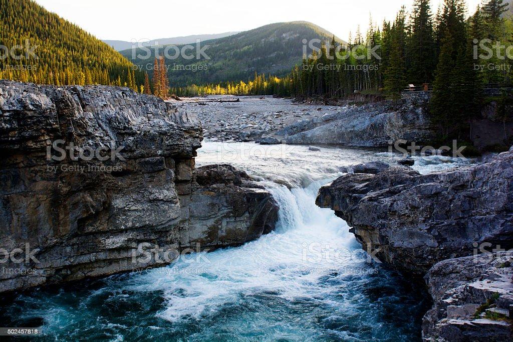 Elbow Falls and Surrounding Mountain Range stock photo