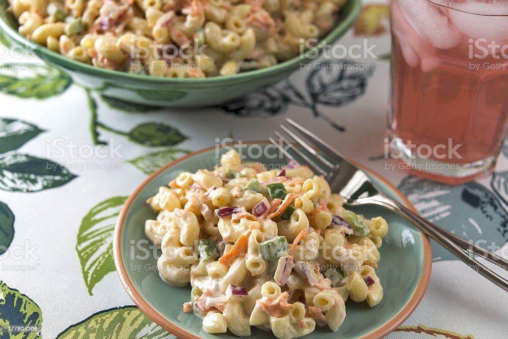 Elbow macaroni salad with lemonade royalty-free stock photo