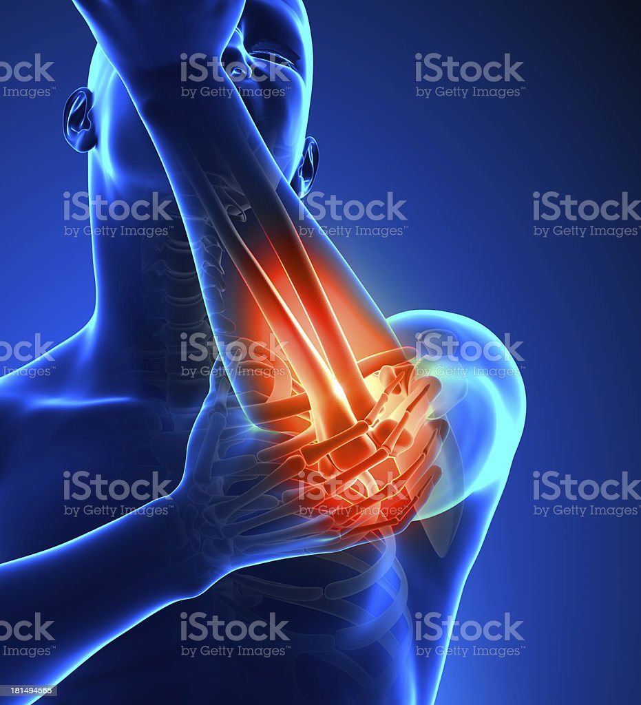 Elbow Pain Male - Front view stock photo