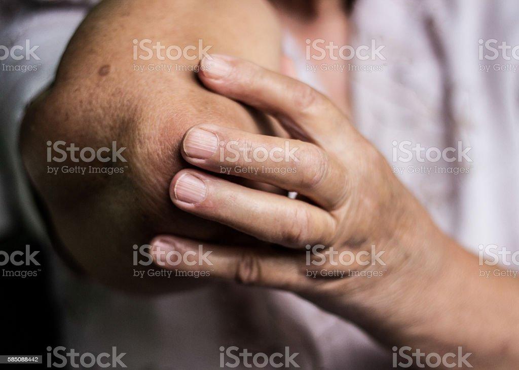 Elbow pain stock photo