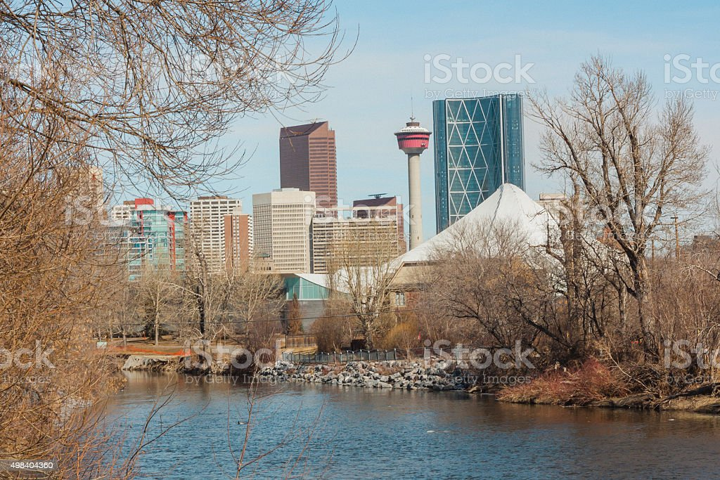 Elbow River and Calgary Cityscape stock photo