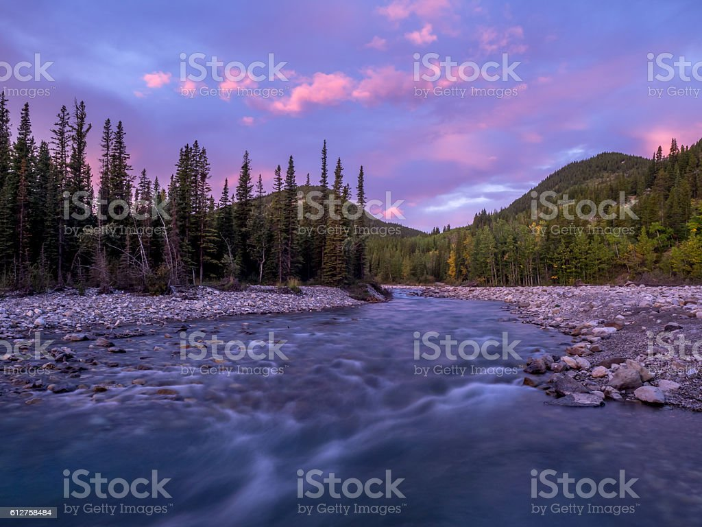 elbow river and valley in kananaskis country stock photo