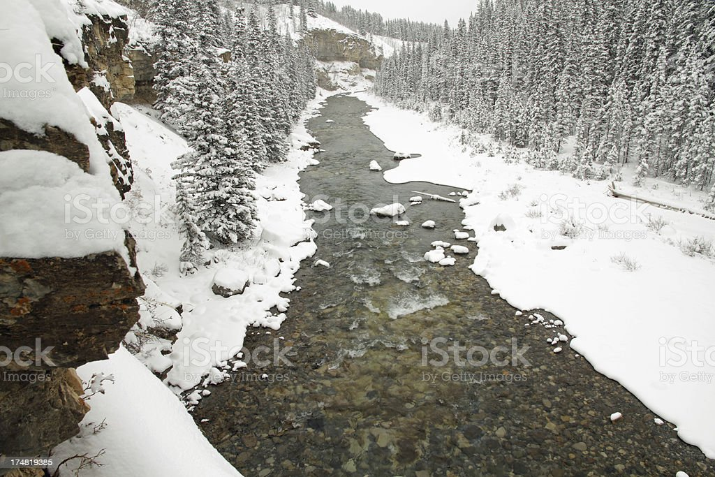 Elbow River in Winter stock photo